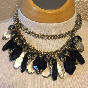 Vintage gold tone chain beaded necklace